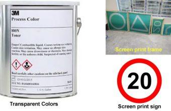 Traffic-compliant screen print inks